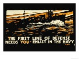 Enlist in the Navy, The First Line of Defense, c.1914 - Hampton Francis Shirer