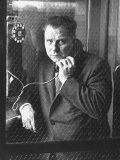 President of Teamsters Union Jimmy Hoffa Making Phone Call from Glassed-In Phone Booth - Hank Walker