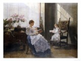 Mrs Leopoldine Masarai with Her Daughters at the Artists Studio, 1896 - Hans Tichy