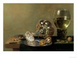 A Still Life with Glass of Wine, Tazza and a Pewter Plate - Hans van Sant