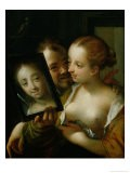 Laughing Couple with a Mirror, 1596 - Hans von Aachen