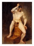 A Seated Male Nude - Hans Von Staschiripka Canon