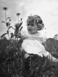 Close Up of English Child Sitting in Field - Hans Wild