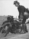 Woman Dispatch Rider Standing Beside Her Motorcycle - Hans Wild