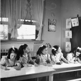 View of the Dionne Quintuplets Working in Class - Hansel Mieth