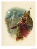 The Ghost of Hamlet's Father Appears on the Battlements of Elsinore and Alarms the Sentries - Harold Copping