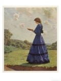 Girl Stands in a Field Reading Her Book - Harold Knight