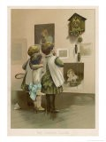 Three Children Break off from Their Game of Battledore and Shuttlecock to Admire the Cuckoo Clock - Harriet M. Bennett