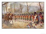Detachment of Gordon Highlanders Dip the Colours to Passing Royalty Near Buckingham Palace - Harry Payne