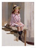 Portrait of a Young Girl in a Pink Dress and a Straw Hat - Harry Watson