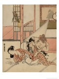 A Man Descends from a Picture Hanging on a Wall to Peak Under the Kimono of a Sleeping Woman - Harunobu Suzuki