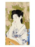 A Bust Portrait of a Young Woman Leaning on a Balcony Railing, Dated July 1920 - Hashiguchi Goyo