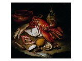 Still Life with Herring, Lobster, Turbots, Mullets, Oysters, Sea Hen, Lemon, and Brickwork Pot - Hayez Francesco