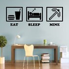 Eat Sleep MINE Gaming Decals Minecraft Game Wall Art Stickers Home Decorations