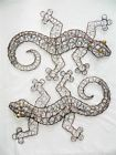 Gecko Wall Art Metal Geckos Lizard - Set of 2 - Bronze Wire
