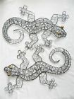 Gecko Wall Art Metal Geckos Lizard - Set of 2 - Silver Wire