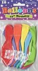10 X AGE 13 BIRTHDAY BALLOONS MULTI COLOURS AIRFILL PARTY DECORATION (SE)