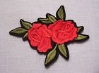 C5492 - DUO FLEUR ROSE ROUGE ** 8 x 7 cm ** APPLIQUE ÉCUSSON PATCH THERMOCOLLANT