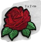 C5626 - FLEUR ROSE ROUGE ** 7 x 7 cm ** APPLIQUE ÉCUSSON PATCH THERMOCOLLANT