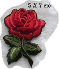 C2330 - TIGE FLEUR ROUGE ** 5 x 7 cm **  APPLIQUE ÉCUSSON PATCH THERMOCOLLANT