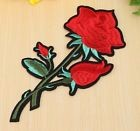 C2345 ** 13 x 23 cm **  APPLIQUE ÉCUSSON PATCH THERMOCOLLANT - FLEUR ROSE ROUGE