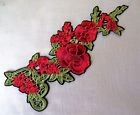 C2343 ** 10 x 26 cm ** APPLIQUE ÉCUSSON PATCH THERMOCOLLANT - FLEUR TON ROUGE