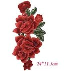 APPLIQUE ÉCUSSON PATCH THERMOCOLLANT ** 11,5 x 24 cm ** BOUQUET FLEUR TON ROUGE