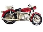 Contemporary Metal Wall Art Decor Sculpture - Small Red Motorbike - Motorcycle