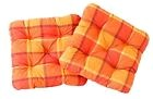Ambient home Lot de 2 Galettes a carreaux de chaise EVJE Orange 50 x 50 x 8 c...