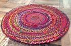 Second Nature Online Tapis rond multicolore Tapis tresse en tissu recycle Com...