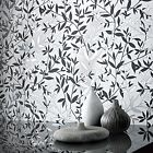 Superfresco Easy Paste The Wall Leaf Print Bijou Black/White Metallic Wallpaper