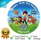 PAW PATROL CAKE TOPPER BIRTHDAY CAKE EDIBLE ROUND PRINTED DECORATION