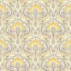Grey and Yellow Retro Floral Wallpaper Art Deco Flora Nouveau by Crown M1195