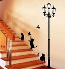 Large Cat Lamp Post Wall Stickers Art Decal Mural Wallpaper Decor Home DIY Kids