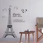 Amovible Paris Tour Eiffel Stickers muraux Wall Sticker vinyle Art Décoration