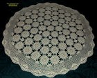 NAPPERON CENTRE DE TABLE EN CROCHET D'ART FAIT MAIN ROND ECRU DE 75 CM