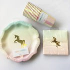 Talking Tables Gold Unicorn Pastel Ombre PlatesNapkinsCups. Tableware Party Pack