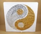 Tableau Ying Yang Blanc et Or / Argent - 30X30 - TB022