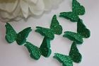 25 GREEN GLITTER 3D BUTTERFLY WEDDING CONFETTI, ST PATRICK'S TABLE DECORATION