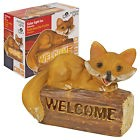 Solar Powered Welcome Sign Garden Fox LED Light Up Lamp Patio Yard Path Lantern