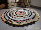 Tapis hoooked rond 120 cm, MULTICOLORE, fait main, neuf