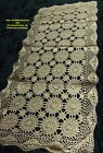 NAPPERON  ou  CHEMIN DE TABLE CROCHET D'ART FAIT MAIN COTON ECRU RECT 40 x90 cm*