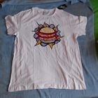 white pop op art warhol ad hamburger MENS T SHIRT SIZE large new with tags arty