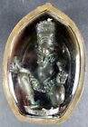 OLD GANESH GANESHA BRONZE STATUE / AMULET FROM NEPAL. + PHA YANT (temple cloth)