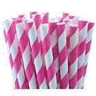 25 Pailles Rayures Blanche Rose Fuchsia - Deco Candy Bar