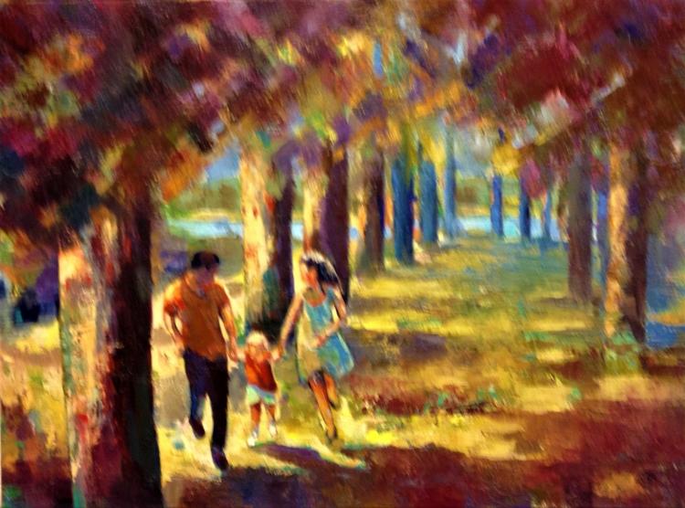 TABLEAU PEINTURE arbres, prairie famille détente couleurs nature - EN FAMILLE