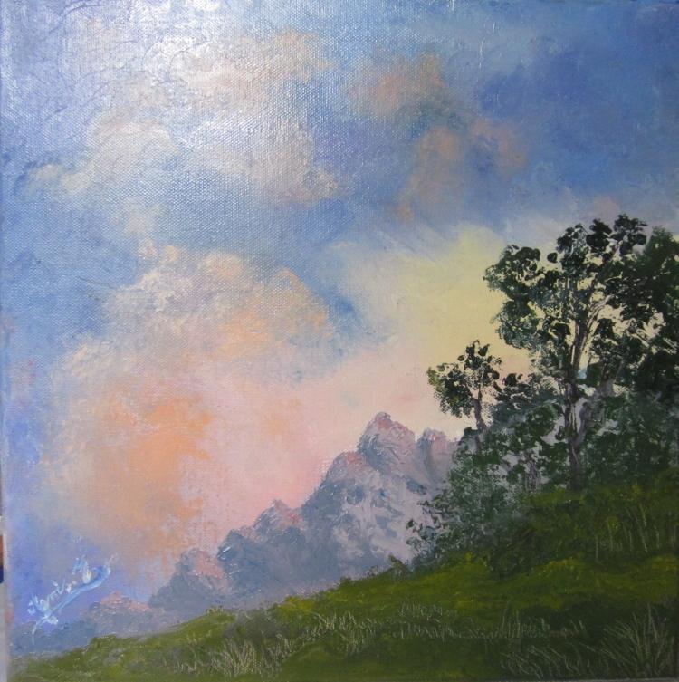 TABLEAU PEINTURE Montagne Soir soleil coucher de soleil - Début de soirée sur la Montagne