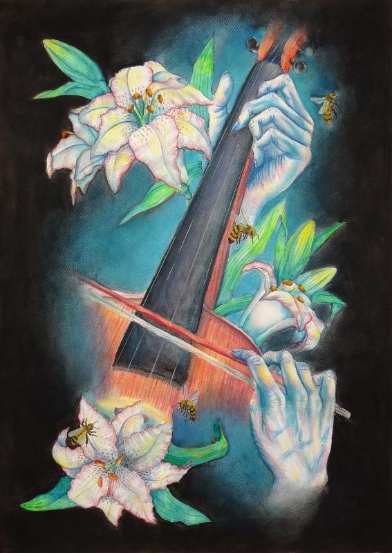 TABLEAU PEINTURE violon musique abeille fleurs - Connection