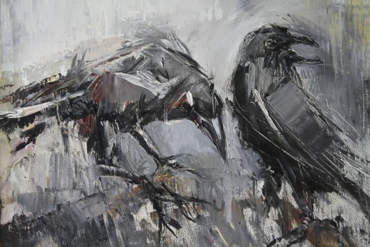 TABLEAU PEINTURE animaux - Les corbeaux