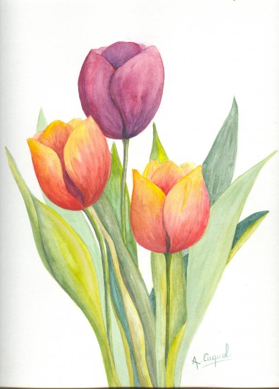 tableau peinture tulipes